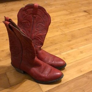 Red cowgirl boots.